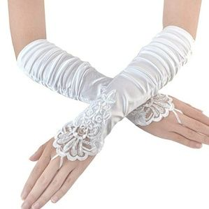 Women Fingerless Gathered Lace Sequins Satin Brida